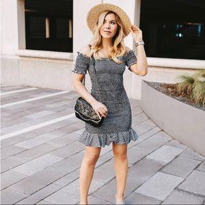 Wayf Scafati Gingham Smocked Ruffle Dress NWOT S